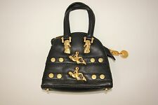 Vintage Gianni Versace RARE Handbag Black Leather Gold Seahorse Mermaid Medusa