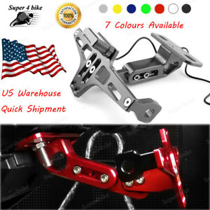 Aluminum Alloy Motorbike License Plate Bracket LED For KT RC 390 2014-2018