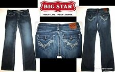 BIG STAR Remy Low Rise Boot JEANS Womens 27 L LONG White Stitching Dark Faded