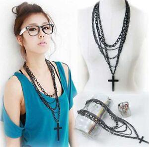 Black Retro Metal large Cross Pendant Multi-layer Chain Long Necklace Womens UK