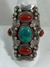 Big Vintage Navajo Native American coral turquoise sterling silver ring