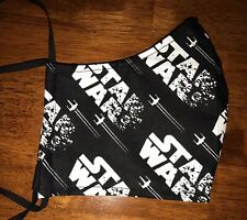 Star Wars Inspired Black Cotton, Face Mask, 2 fabric layers, fitted, logo, adult