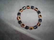 Fashion Orange Evil Eye Lampwork Glass Crystal Stretchy Bracelet Chain Jewelry