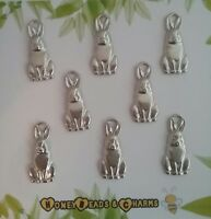❤ Rabbit Charms (silver tone) ❤ Pack of 8 ❤ CRAFTING/JEWELLERY ❤COMBINED P & P❤