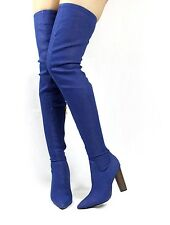 Cape Robin Connie-10 Pointy Toe Thigh High Over the Knee Chunky Heel Boots