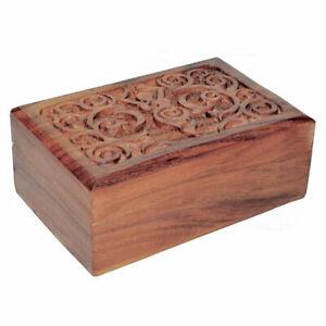 """NEW Spiral Goddess Wood Box 4x6"""" Wooden Chest Tarot, Herbs or Trinkets"""