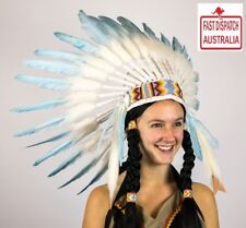 Native American Indian Headdress WHITE AND TURQUOISE Chief Feather War Bonnet