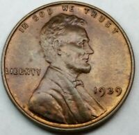 1939 P Lincoln Wheat Cent • higher grade and toning with Luster free shipping