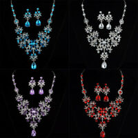 Necklace Earrings Set Womens Crystal Pendant Bib Choker Chain Statement Jewelry