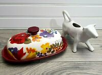 Pioneer Woman Autumn Harvest *RARE* Hard to Find Butter Dish & White Cow Creamer