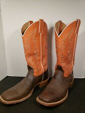 "Cody James Square Toe Western Boots, Salmon and Brown, Size 10 D, 14"",Excellent"