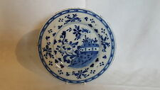 Delftware vintage pre Victorian antique blue & white wall plate