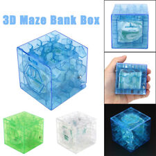 3D Cube puzzle money maze bank saving coin collection case box fun brain game LE