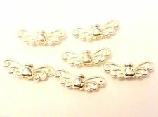 14mm bright Silver Plated Guardian Angel Fairy Wings charm beads (pack of 30)