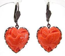 SoHo® Ohrhänger Ohrringe bohemia Glas altsilber Herz coral 1960s handmade Vogel