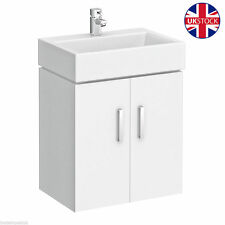 Wall Hung White Square Basin  Cloakroom Furniture Vanity Unit Compact 450 x 320