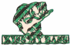 """Kiss My Bass Iron On Patch 3"""" by 2""""  Fishing logo green embroidered"""