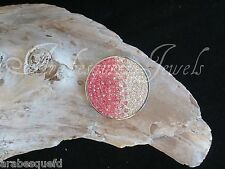 GENUINE STERLINA MI MILANO 24mm PINK CRYSTAL COIN/MONEDA FOR PENDANT/KEEPER AJMM