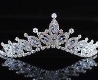 Romantic Bridal Tiara Clear Rhinestones Flower Crown Wedding Prom Pageant Party