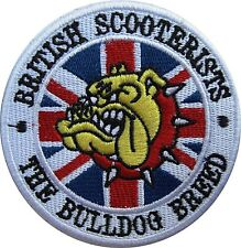 British Scooterists Bulldog Breed round sew on cloth patch   (yy)