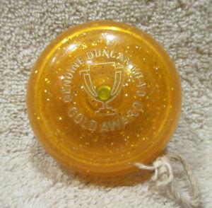 Vintage 1980s Duncan GOLD AWARD Orange Metalflake YoYo -SEE PICS -HARD TO FIND!