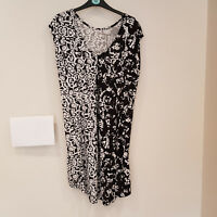 Ladies DOROTHY PERKINS Black & White Shift Dress Animal Print Summer Size 12