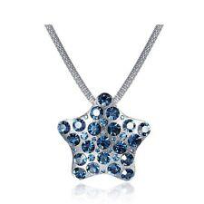 Montana Blue Rhinestone Chain Necklace Star Pendant Made with Swarovski Crystals