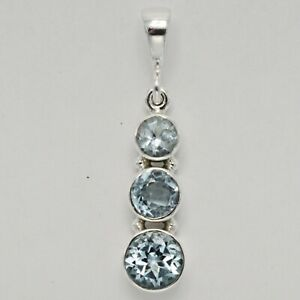 Natural and Beautiful BLUE TOPAZ Triple Pendant - 925 STERLING SILVER #167e