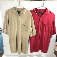 Lot of 2 Towncraft Mens Polo Shirt Tan Red  Solid Golf Shirts Large Cotton 11935