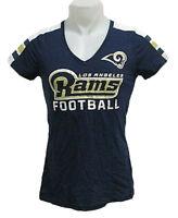 Los Angeles Rams NFL Womens Screen Printed V-Neck T-Shirt Blue XS S M L XL 2XL