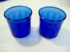 SET OF 2 COBALT BLUE GLASS PANEL TUMBLERS ~MADE IN FRANCE~  500