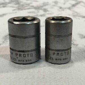 "VTG Proto Sockets SAE 1/2"" Drive 6 Pt, Lot of 2, 3/4 7424H & 5/8 7420H Made USA"