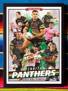 ✺Framed✺ 2021 PENRITH PANTHERS NRL Premiers Poster NATHAN CLEARY - 45cm x 32cm