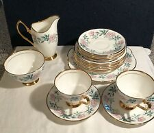 Clare Bone China Tea Set~Cups~Milk Jug~Sugar~Plates~Gold~17 Pcs~Roses~England