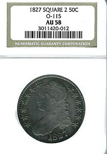 1827  Square Base 2 Capped Bust Half Dollar : NGC AU58  Overton 115