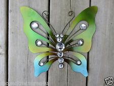 Metal Butterfly Green Blue Bling Fence/Patio Art Outdoor Decor Yard Art 10 In.