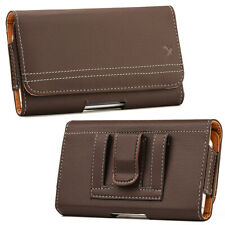Brown Premium Leather Horizontal Belt Clip Loop Pouch Holster Phone Holder