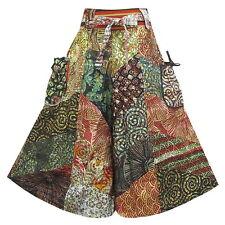 Peasant Boho Hippie Gypsy Patchwork Wide leg Tie Waist Capris Cotton Pants F1050