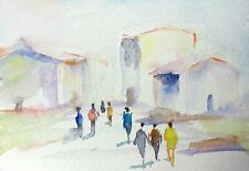 original watercolor painting ACEO city sunset figure street sky people  #SIBY