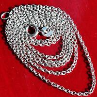 """18k 750 white gold necklace 18.25"""" Italian cable link chain handmade 2.8gr"""