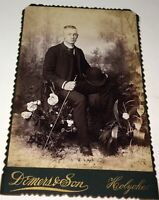 Antique Handsome Victorian American Fashion Young Man, Cane & Hat Cabinet Photo!