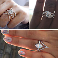 Infinity Wedding Rings For Women Jewelry White Sapphire Marquise Cut Size 6-10