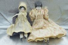 """Lot of 2 Antique German China Head & Limbs Doll Early 1900's 8 5/8"""" & 7 5/8"""""""