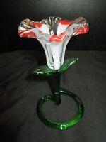 """Art Glass Mouth Blown Flower 6 3/4"""" Tall"""