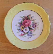 Vintage Yellow Border Paragon Fine Bone China Saucer Only Floral Center Gold Rim