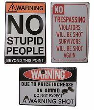 3 X Warning No Trespassing Funny Tin Sign Set Bar Garage Wall Decor Retro Metal