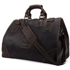 Vintage Men's Cowhide Leather Tote Travel Bags Luggage Duffle Overnight Camping