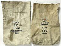Vintage 1960's Philadelphia And Denver US Mint Canvas Money Coin Cent Bags