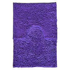 2 Piece High Pile Chenille Bath Mat and Pedestal Contour Rug Set Purple