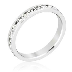 .40 CW 3 mm Round CZ Channel Stackable Eternity Bridal Wedding Band Ring Size 6